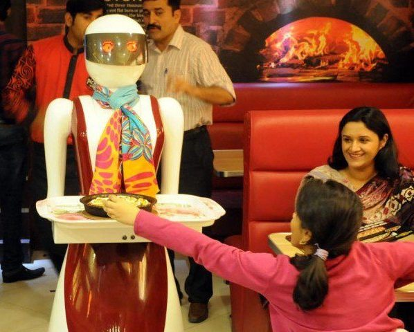 The reason behind is a rob­otic waitress in the restaurant and serving food to the diners. The remarkable thing is that this robot